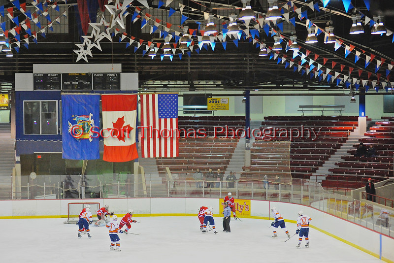 Baldwinsville Bees play the Liverpool Warriors at the New York State Fairground's Coliseum in Syracuse, New York. Baldwinsville won 6 to 1.
