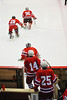 Baldwinsville Bees players Chris Johns (30), Josh Pinard (29), Nick Harper (31), Steve Schneid (14) and Shane O'Brien (25) return to the ice for the third period against the Liverpool Warriors at the New York State Fairground's Coliseum in Syracuse, New York. Baldwinsville won 6 to 1.