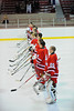 Baldwinsville Bees line up for the national anthem at the NY State Fair Coliseum before a game against the Solvay Bearcats on Tuesday, February 1, 2011.