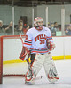 Baldwinsville Bees goalie Chris Johns (30) waiting for the start of the game against the West Genesee Wildcats at the Greater Baldwinsville Ice Arena in Lysander, New York. West Genesee won 3 to 0.