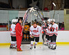 Baldwinsville Bees captain Steve Schneid (14) being announced for Senior Night before the game against the McQuaid Knights at the Greater Baldwinsville Ice Arena in Baldwinsville, New York.