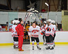Baldwinsville Bees Dan Strodel (24) being announced for Senior Night before the game against the McQuaid Knights at the Greater Baldwinsville Ice Arena in Baldwinsville, New York.