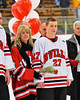 Baldwinsville Bees Brian Burlingame (27) on Senior Night before the game against the McQuaid Knights at the Greater Baldwinsville Ice Arena in Baldwinsville, New York.