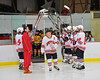 Baldwinsville Bees captain Justin Newman (7) being announced for Senior Night before the game against the McQuaid Knights at the Greater Baldwinsville Ice Arena in Baldwinsville, New York.