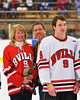 Baldwinsville Bees Brendan Polsin (9)  on Senior Night before the game against the McQuaid Knights at the Greater Baldwinsville Ice Arena in Baldwinsville, New York.