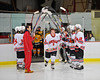 Baldwinsville Bees Brendan Polsin (9) being announced for Senior Night before the game against the McQuaid Knights at the Greater Baldwinsville Ice Arena in Baldwinsville, New York.