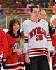 Baldwinsville Bees Shane O'Brien (25) on Senior Night before the game against the McQuaid Knights at the Greater Baldwinsville Ice Arena in Baldwinsville, New York.