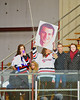 Baldwinsville Bees fans celebrating Senior Night before the game against the McQuaid Knights at the Greater Baldwinsville Ice Arena in Baldwinsville, New York.