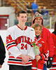 Baldwinsville Bees Dan Strodel (24)  on Senior Night before the game against the McQuaid Knights at the Greater Baldwinsville Ice Arena in Baldwinsville, New York.