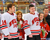 Baldwinsville Bees co-captains Steve Schneid (14) and Mike McElwain (17)  on Senior Night before the game against the McQuaid Knights at the Greater Baldwinsville Ice Arena in Baldwinsville, New York.