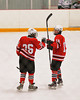 Baldwinsville Bees players Ronnie May (26) and Matt Herman (19) celebrate a goal agains the Fayetteville-Manlius Hornets in Section III Boys Ice Hockey at Cicero Twin Rinks in Cicero, New York on Friday, January 6, 2012. Fayetteville-Manlius  won 4-2.