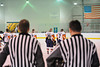 Solvay Bearcats and referees during the National Anthem in the Allyn Ice Arena in Skaneateles, New York.