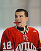 Baldwinsville Bees Parker Ferrigan (18) before the game  against the Solvay Bearcats in the Allyn Ice Arena in Skaneateles, New York.