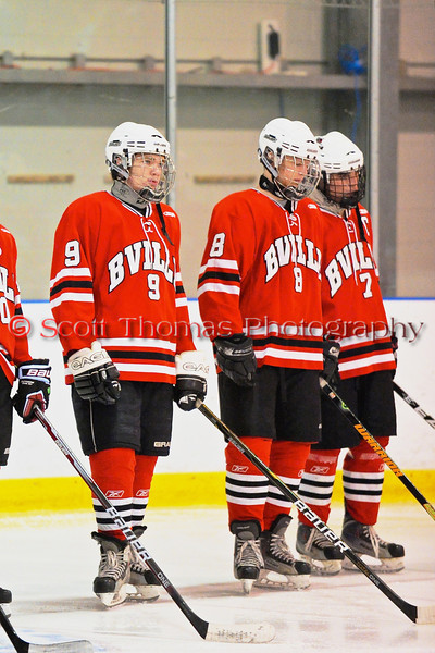 Baldwinsville Bees Brendan Polsin (9) before a game against the Solvay Bearcats in the Allyn Ice Arena in Skaneateles, New York.