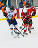 Baldwinsville Bees Justin Newman (7) and Solvay Bearcats Tyler O'Mara (18) fight for the puck in the Allyn Ice Arena in Skaneateles, New York.