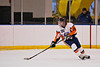Solvay Bearcats Steve Wood (26) turning up ice with the puck against the Baldwinsville Bees in the Allyn Ice Arena in Skaneateles, New York.