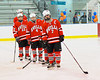 Baldwinsville Bees players Matt Zandri (22), James Wadsworth (4) and Justin Newman (7) after being announced before a game against the Solvay Bearcats in the Allyn Ice Arena in Skaneateles, New York.