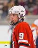 Baldwinsville Bees Brendan Polsin (9) in the game against the Solvay Bearcats in the Allyn Ice Arena in Skaneateles, New York.