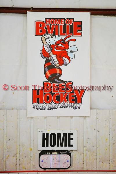 Home of the B'ville Bees Hockey banner in the Greater Baldwinsville Ice Arean.