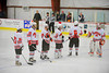 Baldwinsville Bees starting line-up against the the Cicero-North Syracuse Northstars at the Greater Baldwinsville Ice Arena on Thursday, December 1, 2011.  From left: Ronnie May (26), Shane O'Brien (25), Parker Ferrigan (18), Mike McElwain (17), Ronnie Bertrand (6) and goalie Chris Johns (30).