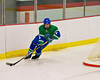 Cicero-North Syracuse Northstars defensemen Kyler Schilling (3) carries the puck around his net against the Baldwinsville Bees at the Greater Baldwinsville Ice Arena on Thursday, December 1, 2011.  Baldwinsville won 10-5.