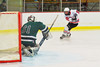 Baldwinsville Bees Ronnie May (26) fires a shot on goal against the Hamilton Emerald Knights in Section III Boys Ice Hockey at the Greater Baldwinsville Ice Arena on Tuesday, January 3, 2012.  Baldwinsville won 4-2.