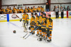 McQuaid Knights stating lineup duirng the national anthem before a game against the Baldwinsville Bees at the Greater Baldwinsville Ice Arena in Baldwinsville, New York. McQuaid won 4-3 in overtime.
