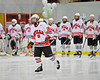 Baldwinsville Bees Parker Ferrigan (18) being introduced before the game against the West Genesee Wildcats at the Greater Baldwinsville Ice Arena in Baldwinsville, New York on Tuesday, January 31, 2012.  West Genesee won 3-0.