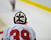 The back of Baldwinsville Bees goalie Josh Pinard's mask at the Greater Baldwinsville Ice Arena in Baldwinsville, New York on Tuesday, January 31, 2012.  West Genesee won 3-0.