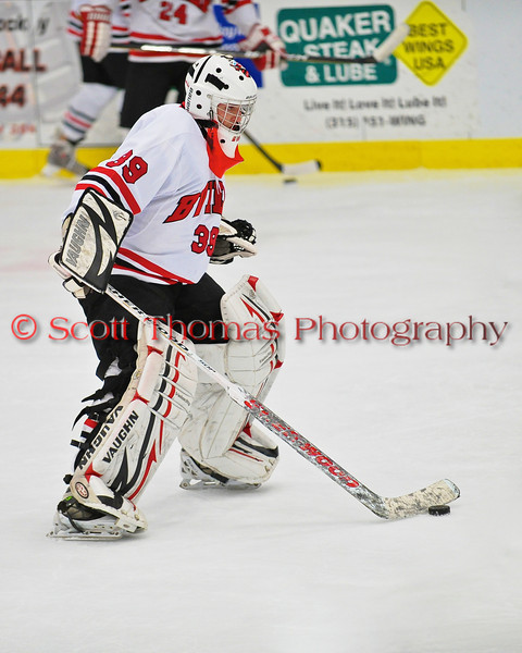 Baldwinsville Bees goalie Josh Pinard (39) stickhandling during warmups before the game against the West Genesee Wildcats at the Greater Baldwinsville Ice Arena in Baldwinsville, New York on Tuesday, January 31, 2012.  West Genesee won 3-0.