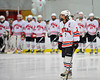 Baldwinsville Bees captain Justin Newman (7) being introduced before the game against the West Genesee Wildcats at the Greater Baldwinsville Ice Arena in Baldwinsville, New York on Tuesday, January 31, 2012.  West Genesee won 3-0.