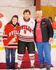 Baldwinsville Bees Matthew Colclough (5) at Senior Night before the game against the Watertown IHC Cavaliers at the Greater Baldwinsville Ice Arena in Baldwinsville, New York on Friday, January 18, 2013.