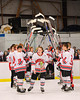 Baldwinsville Bees Morgan Baumler (16) being announced for Senior Night before the game against the Watertown IHC Cavaliers at the Greater Baldwinsville Ice Arena in Baldwinsville, New York on Friday, January 18, 2013.