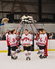 Baldwinsville Bees Tom Ancillotti (8) being announced for Senior Night before the game against the Watertown IHC Cavaliers at the Greater Baldwinsville Ice Arena in Baldwinsville, New York on Friday, January 18, 2013.