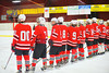 Baldwinsville Bees Matthew Colclough (5) looks over at family before playing the Syracuse Cougars at Meachem Ice Rink in Syracuse, New York.  Baldwinsville won 4-3.