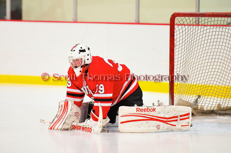 Baldwinsville Bees starting goalie Josh Pinard (39) getting ready to take on the Syracuse Cougars at Meachem Ice Rink in Syracuse, New York.  Baldwinsville won 4-3.