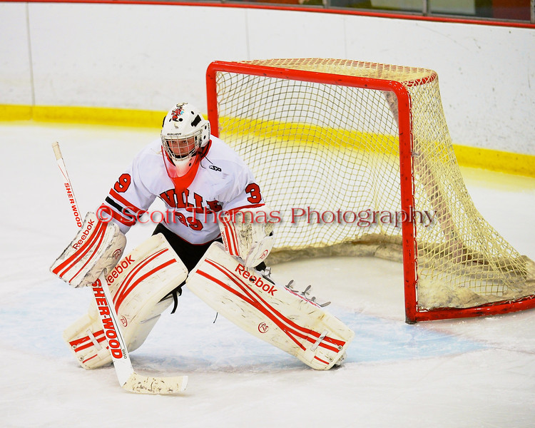 Baldwinsville Bees goalie Josh Pinard (39) before playing the Cazenovia Lakers at the Greater Baldwinsville Ice Arena in Baldwinsville, New York.  Cazenovia won 5-4 in Overtime.