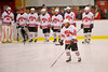 Baldwinsville Bees Garrett Gray (18) being introduced before the game with the Greater Baldwinsville Ice Arena in Baldwinsville, New York.  Cazenovia won 5-4 in Overtime.