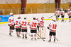 Baldwinsville Bees starting lineup Ronnie Bertrand (6), Luke McCaffrey (2), Matt Zandri (22), Mike Schneid (20), Garrett Gray (18) and goalie Josh Pinard (39) being introduced before playing the Cazenovia Lakers at the Greater Baldwinsville Ice Arena in Baldwinsville, New York.  Cazenovia won 5-4 in Overtime.