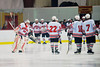 Baldwinsville Bees starting goalie Josh Pinard (39) being introduced before playing the Central Square Redhawks in a Section III Playoff game at the Greater Baldwinsville Ice Arena in Baldwinsville, New York on Thursday, February 14, 2013.  Baldwinsville won 8-2.