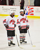 Baldwinsville Bees Garrett Gray (18) and Matt Zandri (22) during the starting lineup introductions before playing the Central Square Redhawks at the Greater Baldwinsville Ice Arena in Baldwinsville, New York.  Baldwinsville won 3-1.