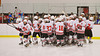 Baldwinsville Bees break from a huddle before playing the Central Square Redhawks at the Greater Baldwinsville Ice Arena in Baldwinsville, New York.  Baldwinsville won 3-1.