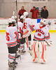 Baldwinsville Bees starting goalie Josh Pinard (39) before the game with the Fayetteville-Manlius Hornets at the Greater Baldwinsville Ice Arena in Baldwinsville, New York.  Baldwinsville won 4-2.
