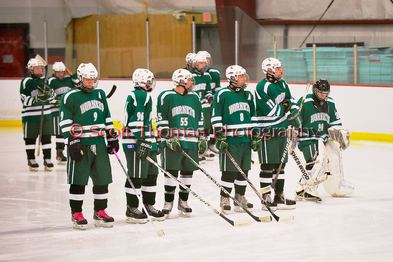 Fayetteville-Manlius Hornets starting line up before playing the Baldwinsville Bees at the Greater Baldwinsville Ice Arena in Baldwinsville, New York.  Baldwinsville won 4-2.