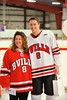 Baldwinsville Bees Tom Ancillotti (8) with his teacher, Mrs. Scuderi, on Teacher Appreciation Night at the Greater Baldwinsville Ice Arena in Baldwinsville, New York.