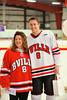Baldwinsville Bees Tom Ancillotti (8) with his teacher, Mrs. Scuderi, on Teacher Appreciation Night at the Greater Baldwinsville Ice Arena in Baldwinsville, New York.