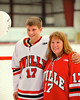 Baldwinsville Bees James Pelcher (17) with his teacher, Mrs. Gravante, on Teacher Appreciation Night at the Greater Baldwinsville Ice Arena in Baldwinsville, New York.