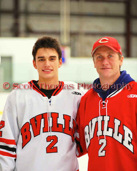 Baldwinsville Bees Luke McCaffrey (2) with his teacher, Mr. Legro, on Teacher Appreciation Night at the Greater Baldwinsville Ice Arena in Baldwinsville, New York.