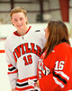Baldwinsville Bees Morgan Baumler (16) with his teacher, Mrs. Town, on Teacher Appreciation Night at the Greater Baldwinsville Ice Arena in Baldwinsville, New York.