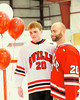 Baldwinsville Bees Mike Schneid (20) with his teacher, Mr. Deemer, on Teacher Appreciation Night at the Greater Baldwinsville Ice Arena in Baldwinsville, New York.